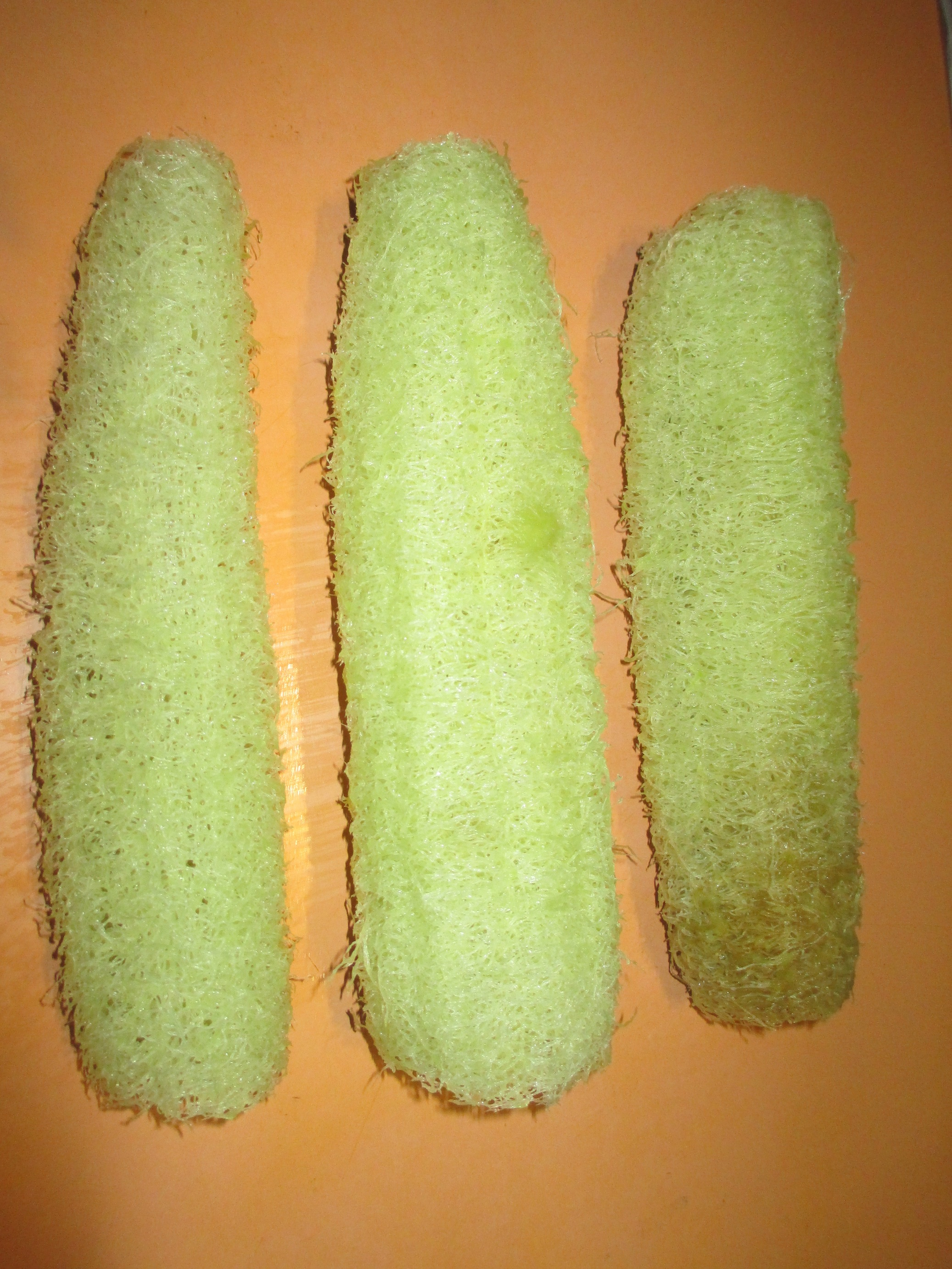 Cleaned luffa ready to dry